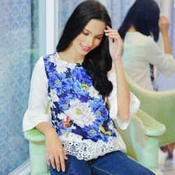 Kamiseta,Blue Floral Elizeth Blouse,Blue,280719 image here