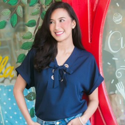 Navy Blue MERRIDY Blouse image here