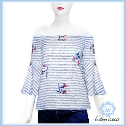 Blue stripes AIDEN Blouse image here