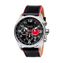 Perry Ellis GT Men Black/Red Genuine Leather Strap Chronograph Watch 01001-01 image here