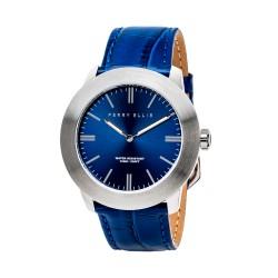 Perry Ellis Slim Line Men Blue Genuine Leather Strap Analog Watch 03001-01 image here