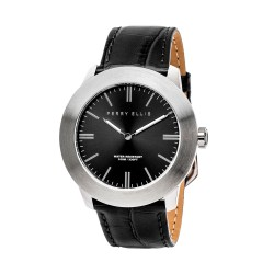 Perry Ellis Slim Line Men Black Genuine Leather Strap Analog Watch 03002-01 image here