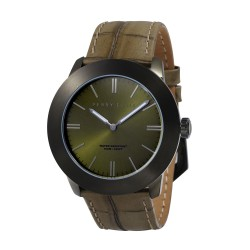 Perry Ellis Slim Line Men Olive Genuine Leather Strap Analog Watch 03006-01 image here