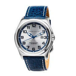 Perry Ellis Memphis Men Blue Genuine Leather Strap Analog Watch 04001-01 image here