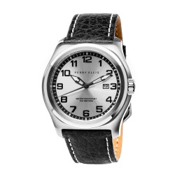 Perry Ellis Memphis Men Black Genuine Leather Strap Analog Watch 04002-01 image here
