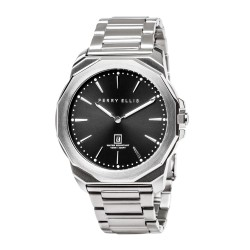 Perry Ellis Decagon Men Silver Stainless Steel Strap Analog Watch 05001-02 image here