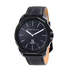 Perry Ellis Decagon Men Black Genuine Leather Strap Analog Watch 05006-01 image here