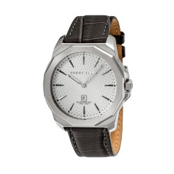 Perry Ellis Decagon Men Gray Genuine Leather Strap Analog Watch 05007-01 image here