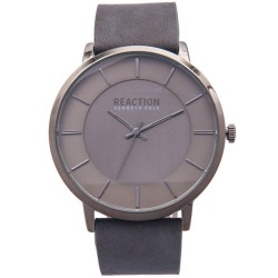 Kenneth Cole Reaction  Mens Gray Leather Strap Analog Watch RK50099006 image here