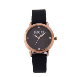 Kenneth Cole Reaction  Womens Black Leather Strap Analog Watch RK50107005 image here