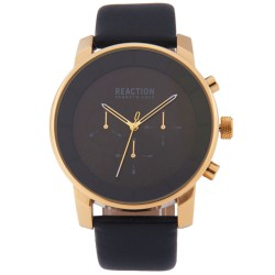 Kenneth Cole Reaction  Mens Black Leather Strap Analog Watch RK50082005 image here