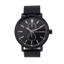 Kenneth Cole Reaction  Mens Black Leather Strap Analog Watch RK50098003 image here