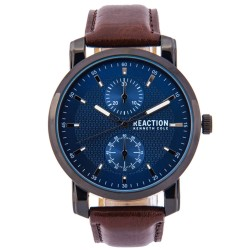 Kenneth Cole Reaction  Mens Brown/Black Leather Strap Analog Watch RK50097001 image here