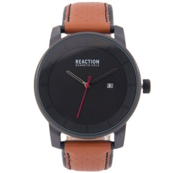 Kenneth Cole Reaction  Mens Brown/Black Leather Strap Analog Watch RK50081004 image here