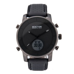 Kenneth Cole Reaction  Mens Gray Leather Strap Ana-Digi Watch RK50083004 image here