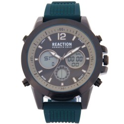 Kenneth Cole Reaction  Mens Dark Teal Rubber Strap Ana-Digi Watch RK50088002 image here