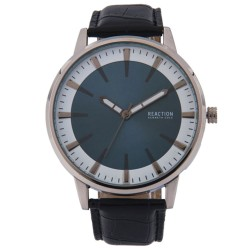 Kenneth Cole Reaction  Mens Black Leather Strap Analog Watch RK50094001 image here