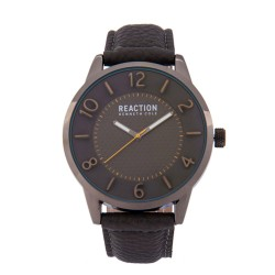 Kenneth Cole Reaction  Mens Gray Leather Strap Analog Watch RK50095002 image here