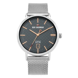 Ben Sherman Dylan Men Silver Mesh Strap Analog Watch WBS103ESM image here