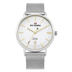 Ben Sherman Dylan Men Silver Mesh Strap Analog Watch WBS103SM image here