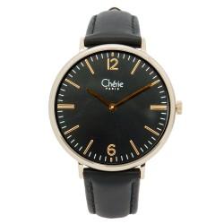 Cherie Paris Donna Women Black Leather Strap Watch CHR-1756L-Blk image here