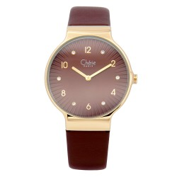 Cherie Paris Cara Women Brown Leather Strap Watch CHR-1760L-IPGDBrn image here