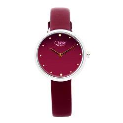 Cherie Paris Tamara Women Maroon Leather Strap Watch CHR-1755L-Mgt image here