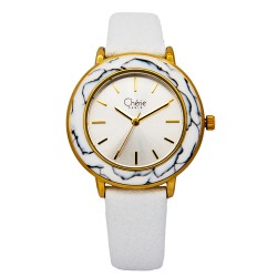 Cherie Paris Tammy Women White Leather Strap Watch CHR-1767L-IPG image here