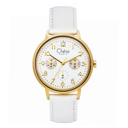 Cherie Paris Mary Jane Women White Leather Strap Watch CHR-1753L-IPGWht image here