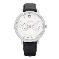 Cherie Paris Tanya Women Black Leather Strap Watch CHR-1740-IPS image here