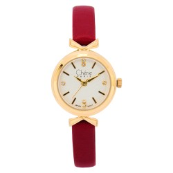 Cherie Paris Roxanne Women Maroon Leather Strap Watch CHR-1746-IPG image here