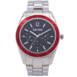 Zoo York  Men Silver Stainless Steel Strap Watch ZY-1746-Red image here