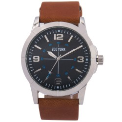 Zoo York  Men Brown Leather Strap Watch ZY-1739-Sil image here