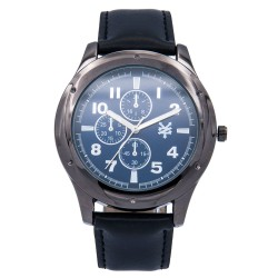 Zoo York  Men Black Leather Strap Watch ZY-1745-Blk image here