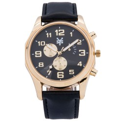 Zoo York  Men Black Leather Strap Watch ZY-1744-Gld image here
