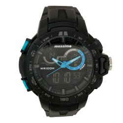 Mossimo Gino Unisex Black Rubber Strap Digital Watch MS-1703G-BLU image here