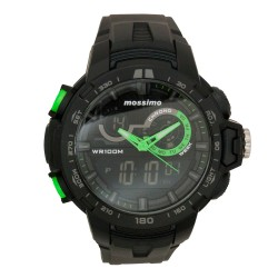 Mossimo Gino Unisex Black Rubber Strap Digital Watch MS-1703G-GRN  image here