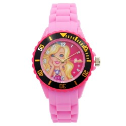 Barbie Girls Pink Rubber Strap Analog Casual Watch BBSISS18102 image here
