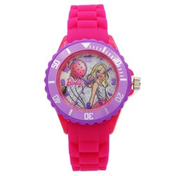Barbie Girls Fuchsia Rubber Strap Analog Casual Watch BBSISS18104 image here