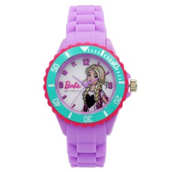 Barbie Girls Purple Rubber Strap Analog Casual Watch BBSISS18106 image here