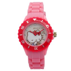Hello Kitty Girls Pink Rubber Strap Analog Casual Watch HKSS18005 image here