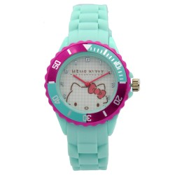 Hello Kitty Girls Turquoise Rubber Strap Analog Casual Watch HKSS18004 image here