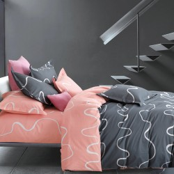 Queen Size 3 in 1 Printed Beddings pink with black image here