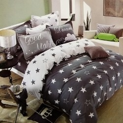 Double size 3 in 1 Bed sheet Good night image here