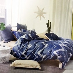 Queen size 3 in 1 Bed Sheet Chevron image here