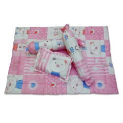 4 in 1 Bolster Pillows and Comforter pink bunny image here