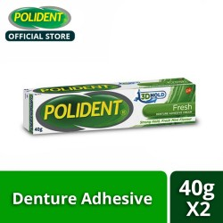 Polident 3D Hold Fresh Mint Denture Adhesive Cream 40g (Set of 2) image here