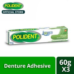 Polident 3D Hold Fresh Mint Denture Adhesive Cream 60g (Set of 2),124460.2 image here