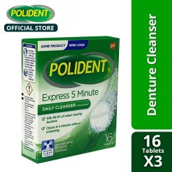 Polident Denture Cleanser Tablets 16's  (Set of 3),40799.3 image here