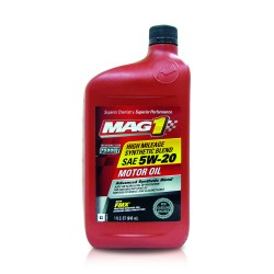 MAG 1 5W20 High Mileage API SN Synthetic Blend Oil for Gasoline Engines 1qt (946ml) PN#64829 image here